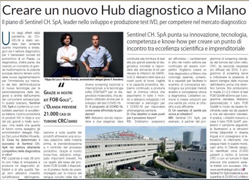 Creare un nuovo Hub diagnostico a Milano: il progetto di Sentinel Diagnostics per competere nel settore dei dispositivi diagnostici